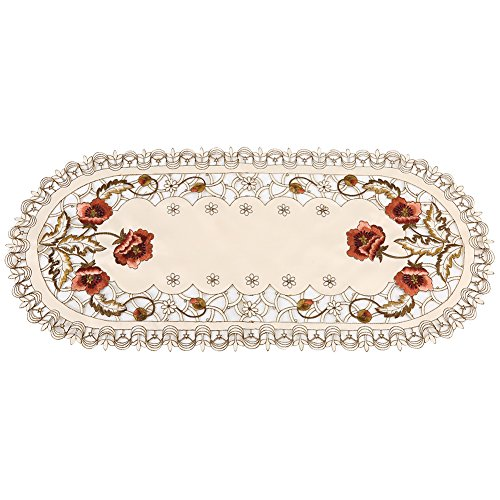 Embroidered Table Runner Red Floral Flower Hollow Tablecloth Dining Table Runner Wedding Party Hotel Home Decor (Oval) from Fdit