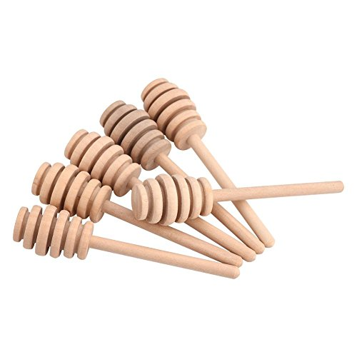 Fdit 50Pcs/set Household Wooden Portable Mini Jam Honey Dipper Jar Dispensing Collecting Stirring Rod Stick Mino Dispense Drizzle Honey (10.5cm) from Fdit