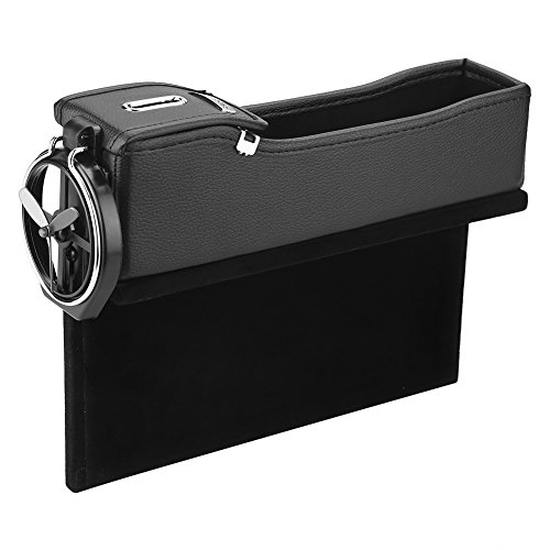 Car Seat Storage Box Pu Leather Slot Gap Catin Removable Coin Card Clamp Cup Holder Pocket Automotive Organizer #1 Black from Fdit