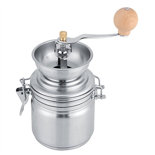 Fdit Coffee Grinder Manual Spice Nuts Grinding Herb Mill Stainless Steel Machine Thickness Adjustable Hand Crank Tool(Silver) from Fdit