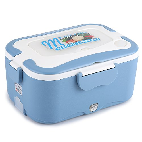 Fdit Electric Heated Lunch Box, Portable Car-Heated Mini Bento Warmer Box, Thermostatic Container Travelling Buffet 12Vblue from Fdit