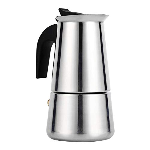 Espresso Italian Coffee Machine with Stainless Steel Filter Mocha Coffee Pot Silver 100/200/300/450 ml for Kitchen Office (Size: 200 ml). from Fdit