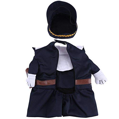 Policeman Costume Outfits with Hat Pet Dog Cat Halloween Costumes The police for Party Christmas Special Events Costume Uniform with Hat Funny Pet (S) from Fdit