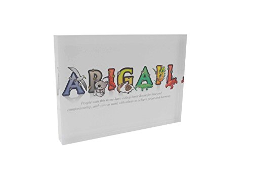 Feel Good Art A7 Diamond Polished Acrylic Token Girls Name with Meaning-Abigail (10.5 x 7.4 x 2cm), Multicoloured, 7.4 x 10.5 cm from Feel Good Art