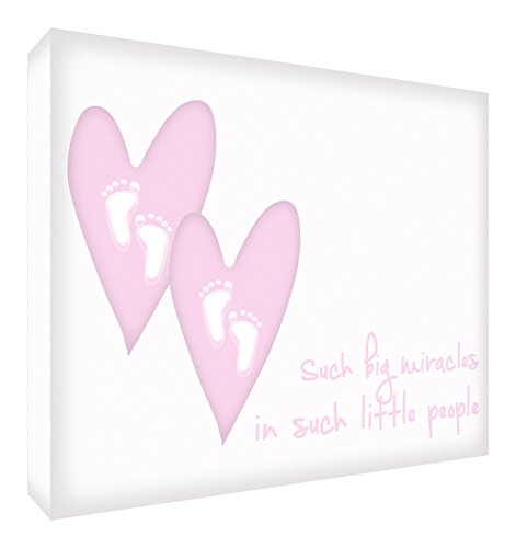Feel Good Art A7 Diamond Polished Acrylic Decor Momento Block Miracle Twin Girls (10.5 X 7.4 X 2 cm, Small, Pink) from Feel Good Art