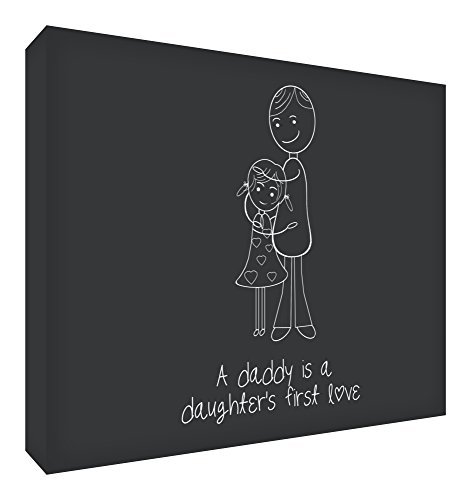 Feel Good Art Diamond-Polished Token in Modern Illustrative Design (10.5 x 14.8 x 2 cm, Small, Black, A Daddy is a Daughter's First Love) from Feel Good Art