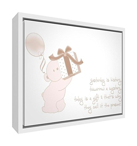 Feel Good Art Eco-Printed and Framed Nursery Canvas with Solid White Wooden Frame (44 x 34 x 3 cm, Medium, Beige, Today is a Gift) from Feel Good Art