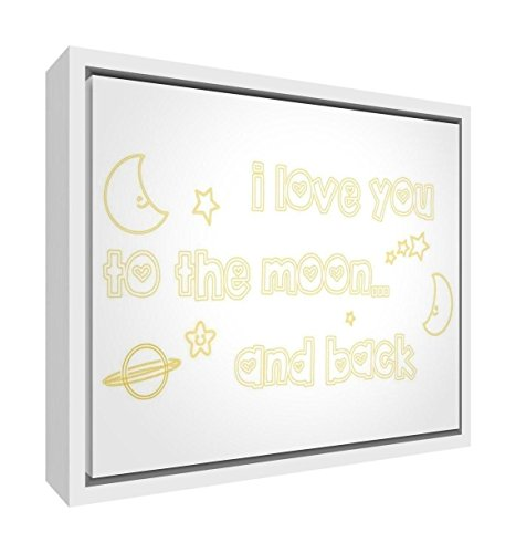 Feel Good Art Eco-Printed and Framed Nursery Canvas with Solid White Wooden Frame (44 x 34 x 3 cm, Medium, Yellow, I Love You to The Moon and Back) from Feel Good Art
