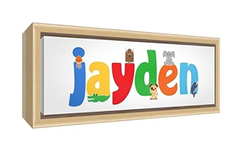 Feel Good Art Framed Box Canvas with Solid Natural Wooden Surround in Cute Illustrative Design Boy's Name (34 x 88 x 3 cm, Large, Jayden) from Feel Good Art