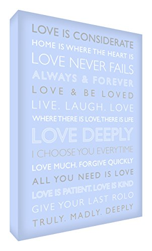 Feel Good Art Love Deeply Gallery Wrapped Box Canvas with Solid Front Panel from the Inspiration Collection (91 x 60 x 4 cm, X-Large, Soft Blue) from Feel Good Art