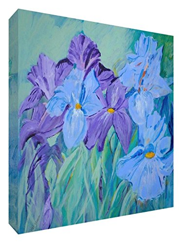 Feel Good Art Original/Gallery Wrapped Box Canvas with Solid Front Panel Vivacious Irises Watercolour Painting by Artist Valerie Johnson (38 x 38 x 4 cm, Medium) from Feel Good Art