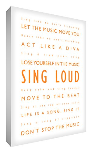 Feel Good Art SL1624-10R 24 x 16-inch A2 1-Piece Large Sing Loud Modern Typographic Thick Box Canvas, Orange from Feel Good Art