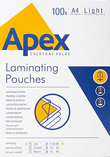 Fellowes Apex Laminating Pouch A4 Light Duty Clear Pack of 100 from Apex
