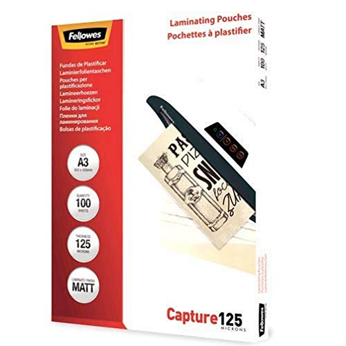 Fellowes ImageLast Enhance80 A4 Laminating Pouches - 80 Microns, Transparent, Matte - Pack of 100 Matte A3 / 125 Mikron from Fellowes