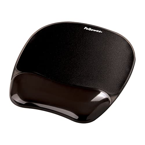 Fellowes Crystals Gel Mouse Mat with Wrist Support, Black from Fellowes