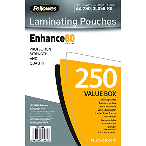 Fellowes A4 Laminating Pouches, Gloss, 160 Micron (2 x 80 Micron) - Pack of 250 from Fellowes