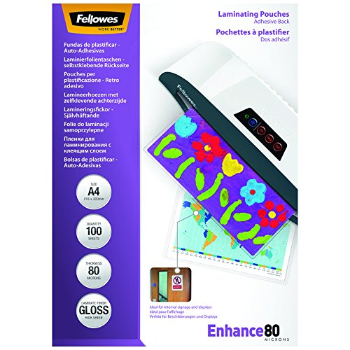Fellowes A4 Laminating Pouches, Gloss, 160 Micron (2 x 80 Micron) Self adhesive, Pack of 100 from Fellowes