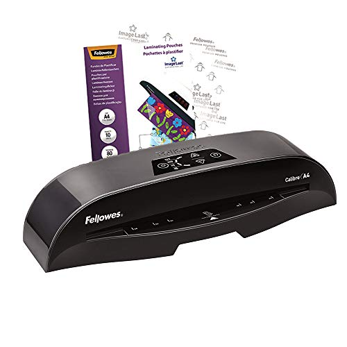 Fellowes Calibre A4 Small Office Laminator 80-125 Micron, Rapid 1 Minute Warm Up Time, Including 10 Free Pouches from Fellowes