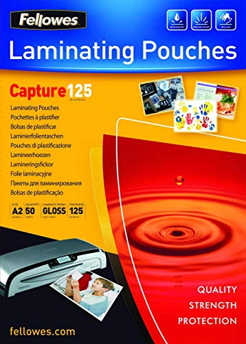Fellowes Capture A2 125 Micron Glossy Laminating Pouches (Pack of 50) from Fellowes