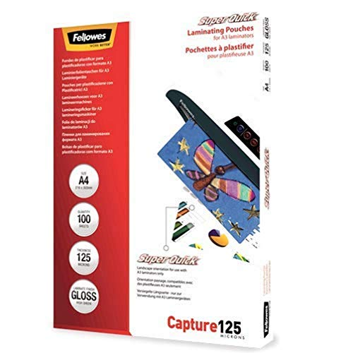 Fellowes Capture A4 125 Micron Super Quick Glossy Laminating Pouches (Pack of 100) from Fellowes