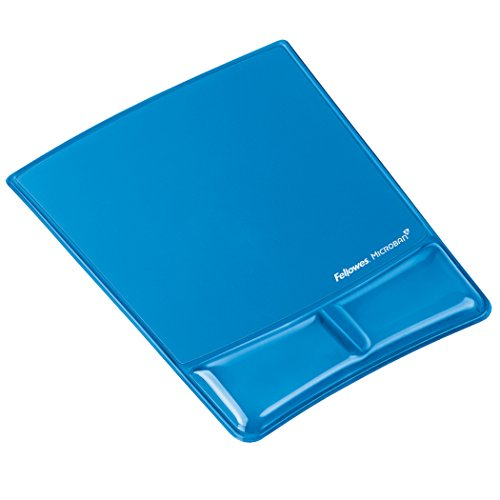 Fellowes Health, V Gel Mouse Mat with Wrist Support Featuring Microban Antimicrobial Protection, Blue from Fellowes