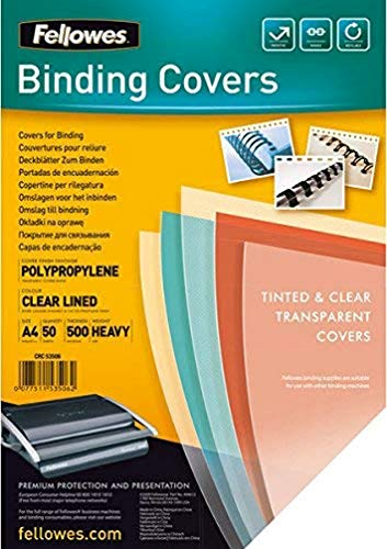 Fellowes Fantasisie Polpropylene Binding Cover- Clear Lined (Pack of 50) from Fellowes