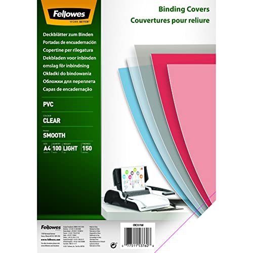 Fellowes PVC Binding Cover A4 150 Micons Clear (Pack of 100) from Fellowes
