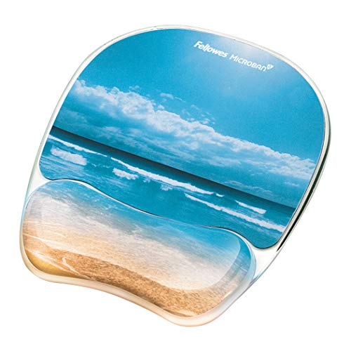 "Fellowes Photo Gel Mouse Pad and Wrist Rest with Microban Protection, Sandy Beach (9179301), Blue, 9.25"" x 7.31"" from Fellowes"