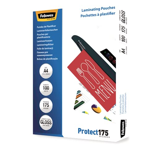 Fellowes Protect A4 175 Micron Glossy Laminating Pouches (Pack of 100) from Fellowes