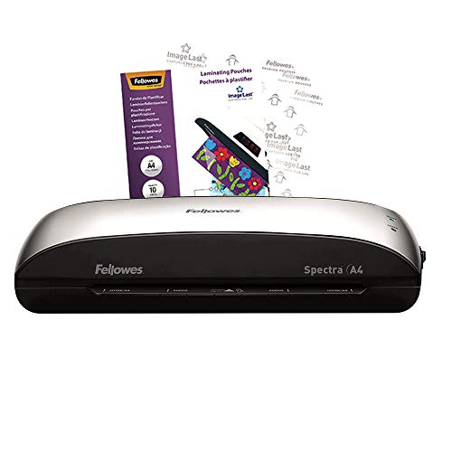 Fellowes Spectra A4 Home Office Laminator, 80-125 Micron, Including 10 Free Pouches, Silver from Fellowes