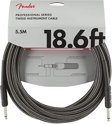 Fender Professional Series Instrument Cable - 18.6 ft - STR/STR - Gray Tweed from Fender