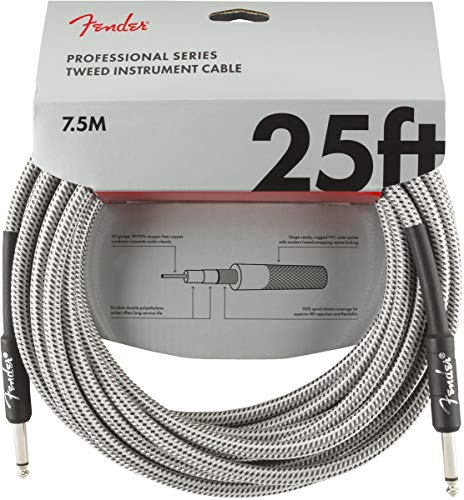 Fender Professional Series Instrument Cable - 25 ft - STR/STR - White Tweed from Fender