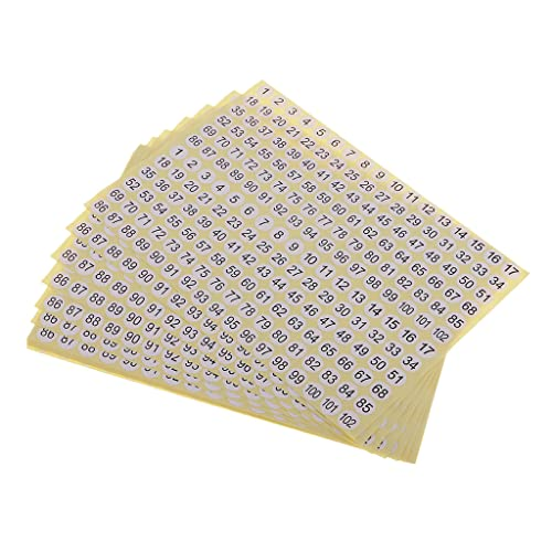 Fenteer 15 Sheets Round Sticky 1 to 102 Numbers Stickers, Self Adhesive Small Garment Numbered Labels, for Home, School & Office Use from Fenteer
