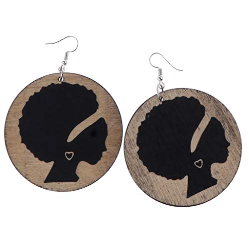 Fenteer Woman Earring African Black Women Dangle Round Shape Wooden Dangle Ear Studs from Fenteer