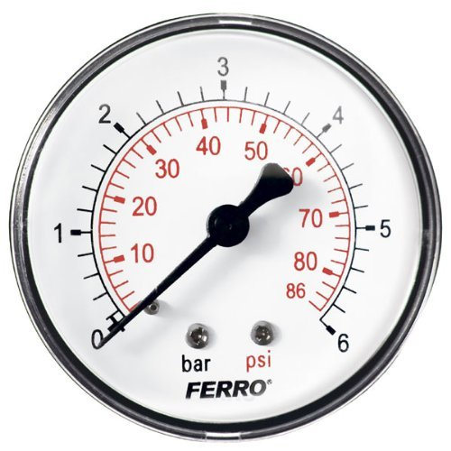 "60mm 6BAR 86PSI Pressure Gauge air oil or water 1/4"" BSPT Rear Entry Manometer from Ottone"