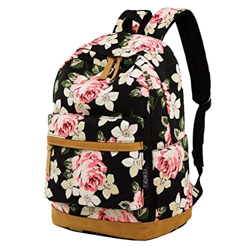 Retro Classic Style Flower Backpack, Fashion Vintage Casual Floral Daypacks Solid Shoulder School Bag for Women and Girl from Feskin