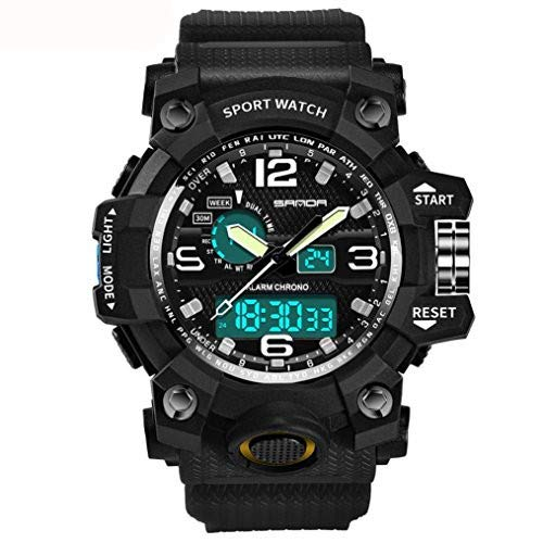 Festiday Men Sport Digital Watch SANDA Fashion Casual Colorful Waterproof Watches Smart Movement Cold Light Electronic Wrist Watches Sale Clearance Watches Gentlemen Birthday Gifts (Black) from Festiday