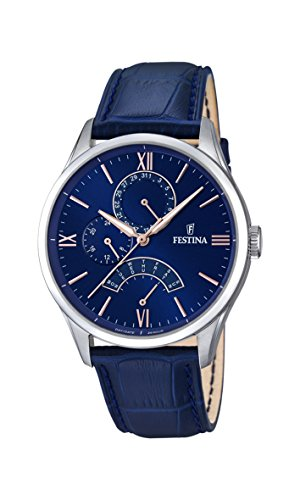 Festina Men's Quartz Watch with Blue Dial Analogue Display and Blue Leather Strap F16823/3 from Festina