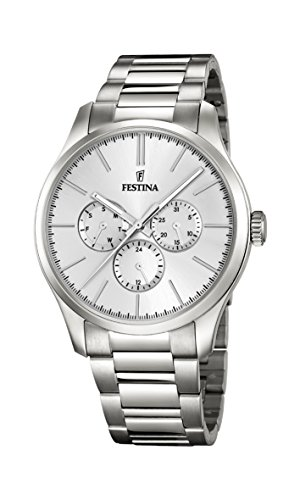 Festina Men's Quartz Watch with Silver Dial Analogue Display and Silver Stainless Steel Bracelet F16810/1 from Festina