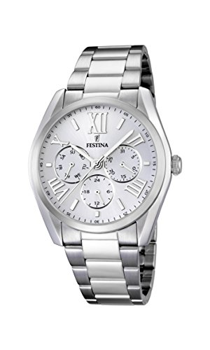 Festina Men's Quartz Watch with White Dial Analogue Display and Silver Stainless Steel Bracelet F16750/1 from Festina