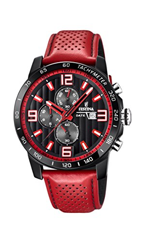 Festina 'The Originals collection' Men's Quartz Watch with Black Dial Chronograph Display and Red Leather strap F20339/5 from Festina
