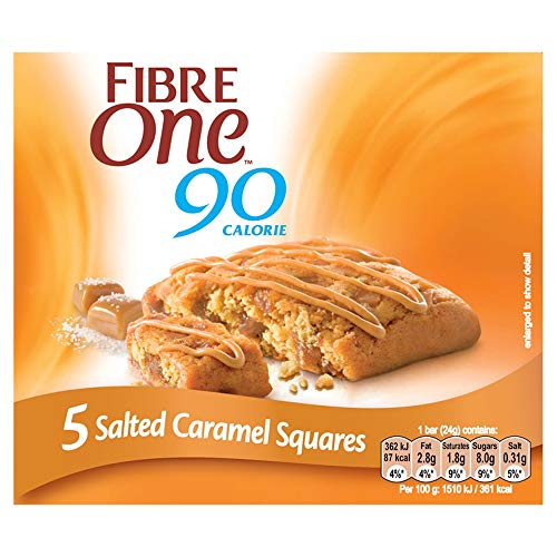 Fibre One 90 Calorie Salted Caramel Squares 24g (Pack of 25 Squares) from Fibre One