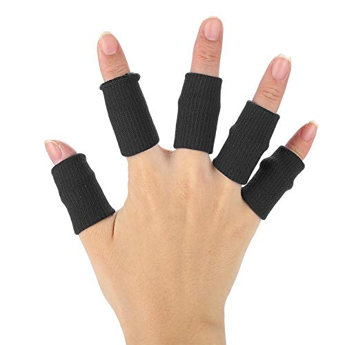 Finger Sleeves, 10pcs Basketball Finger Protector Flexible Sports Guards Wraps Stretchy Volleyball Support Brace (Black) from Filfeel