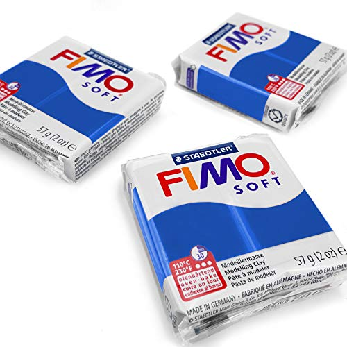 FIMO Soft Polymer Oven Modelling Clay - Most Popular Colours - 57g - Set of 3 - Pacific Blue from Fimo