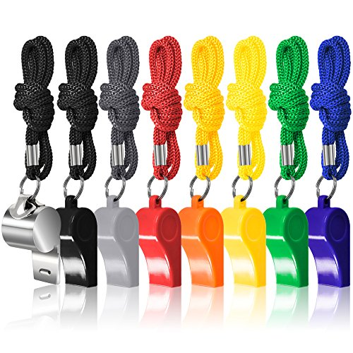 8 Packs Coaches Referee Whistles with Lanyards, FineGood 7 Colorful Plastic and 1 Stainless Steel Metal Whistles for Football Sports Lifeguards Survival Emergency Training - Multi-Color from FineGood