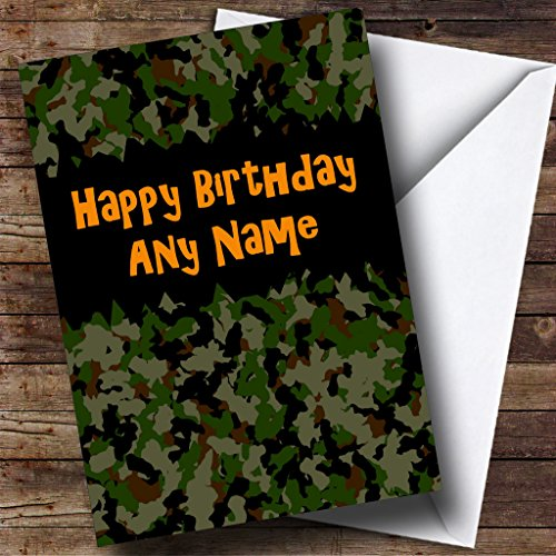 Army Camouflage Personalised Birthday Card from Fingerprint Designs