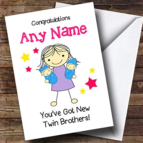 Big Sister Congratulations New Baby Twin Brothers Boys Personalised Sibling Card from Fingerprint Designs
