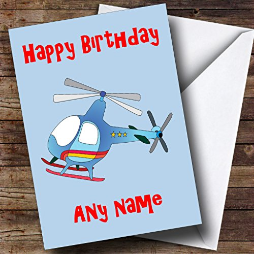 Blue Helicopter Personalised Birthday Card from Fingerprint Designs