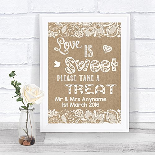 Burlap & Lace Effect Love is Sweet Candy Buffet Personalised Wedding Sign Print from Fingerprint Designs