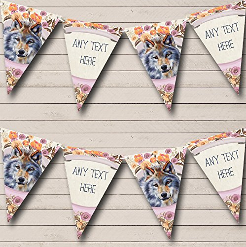 Floral Wolf Personalised Baby Shower Bunting Party Banner Decoration Garland from Fingerprint Designs